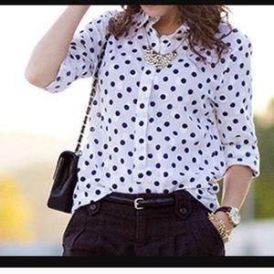 J. Crew Polka Dot Long Sleeve Button Up Shirt